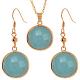 Gem Stone King Stunning Faceted Sky Blue Color Jadelite 18MM Round Dangle Earrings/Pendant Set