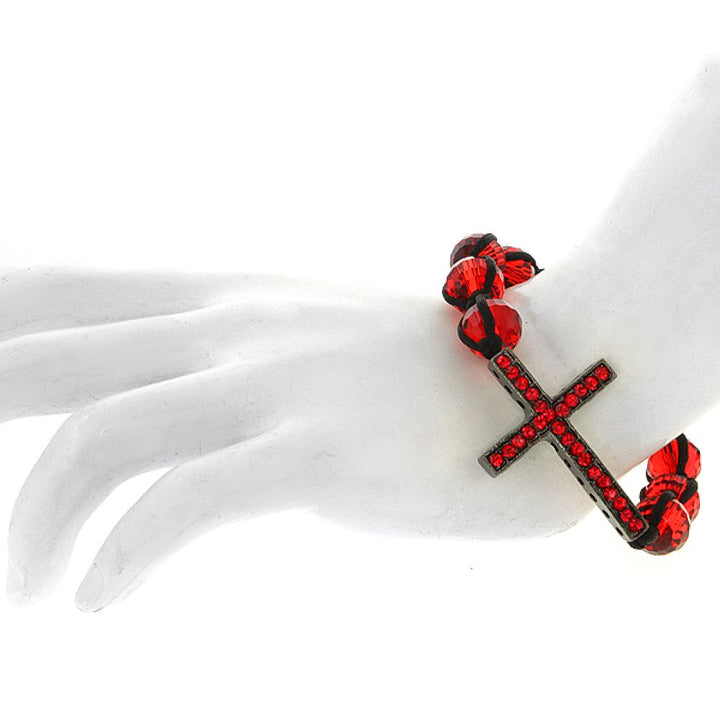 Gem Stone King Stunning Iced Out Red CZ Cross Bracelet with 10mm Faceted Red Color Beads
