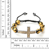 Sideways Cross Ball Bracelet with 10mm Faceted Golden Color Beads