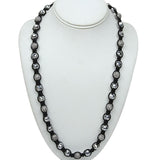 Gem Stone King 24-28inches  Pave Ball and White Crystal Faceted Ajustable Necklace