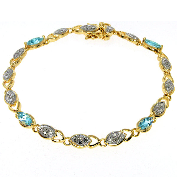 Gem Stone King Two-Tone Sterling Silver Bracelet Light Blue Cubic Zirconias CZ Box with Tongue
