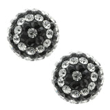 3pc 12mm Set of Three Red Blue Black and White Crystal Pave Balls Earring Studs