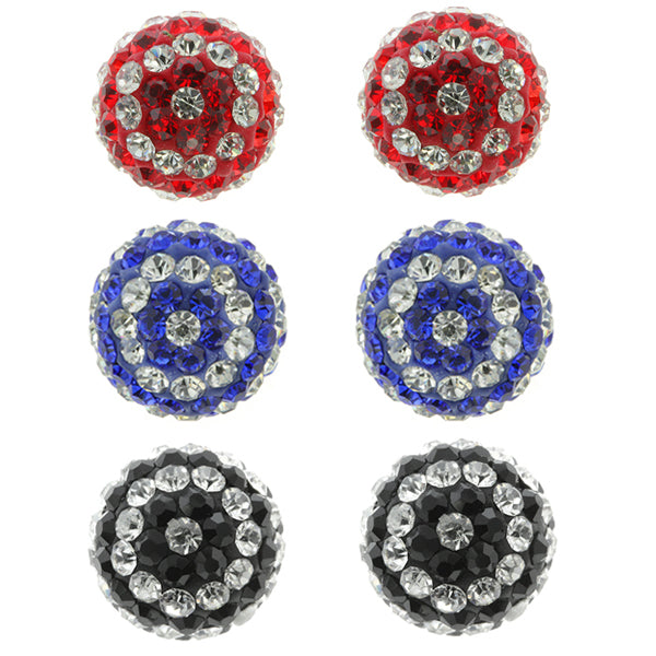 Gem Stone King 3pc 12mm Set of 3 Red Blue Black and White Shamballa Crystal Pave Balls Earring Studs