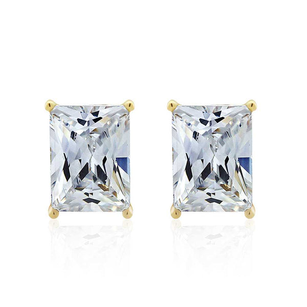 Gem Stone King 3.50 Ct 925 Sterling Silver Yellow Gold Plated Emerald Cut White CZ Earrings