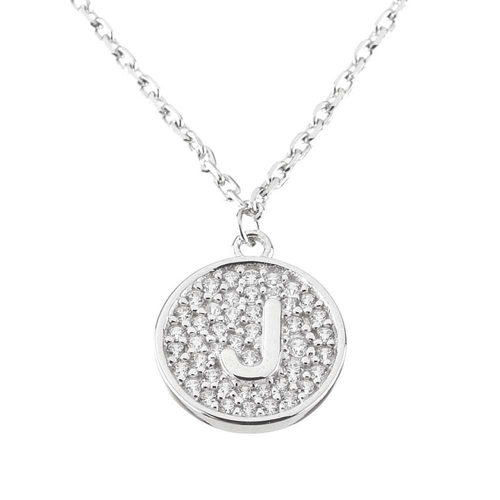 "Gem Stone King Sterling Silver Initial Pendant Necklace Letter J with CZ and 18"" Silver Chain"
