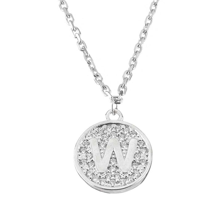 "Gem Stone King Sterling Silver Initial Pendant Necklace Letter W with CZ and 18"" Silver Chain"