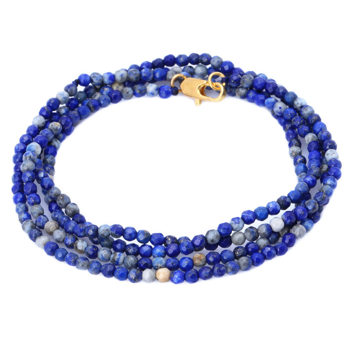 Gem Stone King 3MM Lapis Lazuli Beads Stretchy Bracelet / Necklace 30 Inch With Lobster Clasp