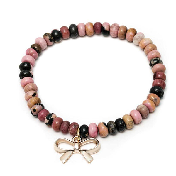 Gem Stone King Stunning 6mm mix Agate Stretch Bracelet with Bow Tie Knot Charm
