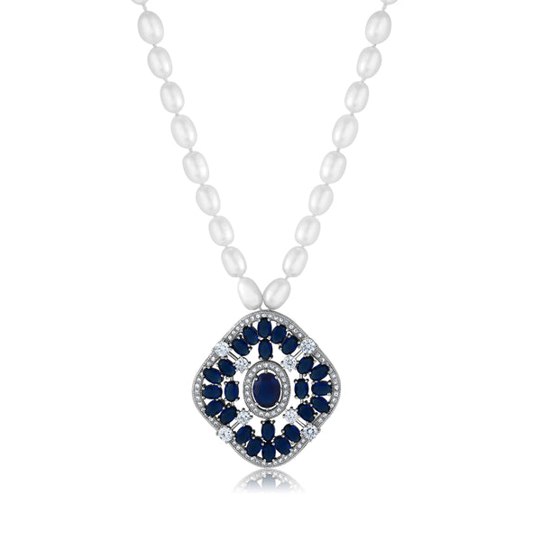 f5179f9e16f7 Gorgeous White and Blue CZ Pendant On Cultured Freshwater Pearl Necklace