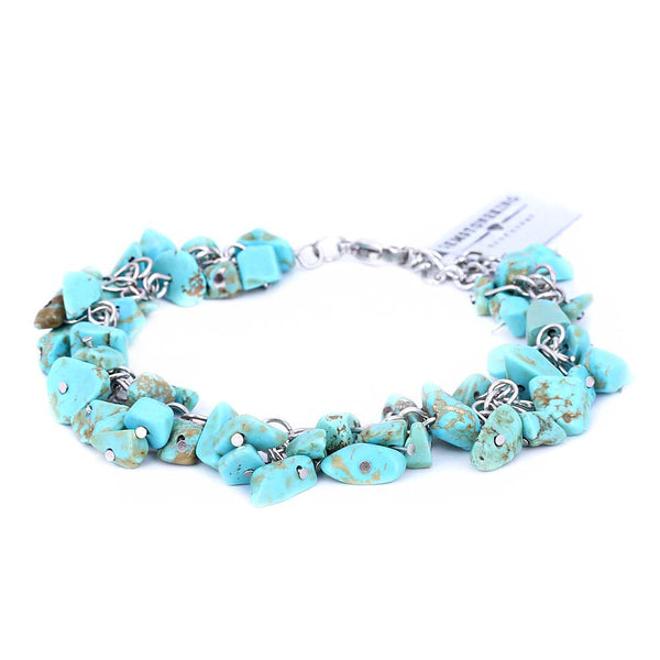 "Simulated Turquoise  Chips 8"" Anklet 1"" Extender Beach Foot Sandal Jewelry"