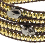 "36"" Cross Cut Golden Beads and Hematite Skeleton on Brown Leather Wrap Bracelet"