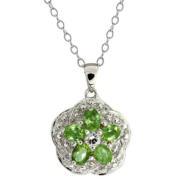 Gem Stone King 1.15 Ct Green Peridot and White Topaz 925 Silver Pendant with 18inches Chain