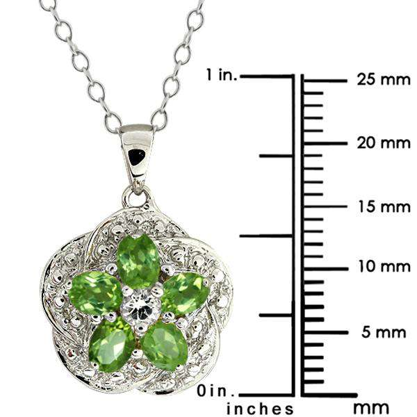 "1.15 Ct Green Peridot and White Topaz 925 Silver Pendant with 18"" Chain"