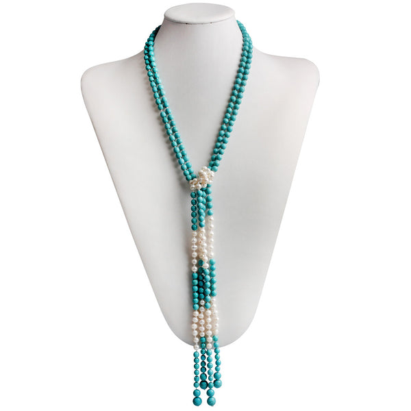 Gem Stone King 42inches 2 Separable Strands Cultured Freshwater Pearl & Simulated Turquoise  Knot Necklace