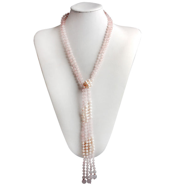 Gem Stone King 42inches 2 Separable Strands Cultured Freshwater Pearl & Pink Gemstone Knot Necklace