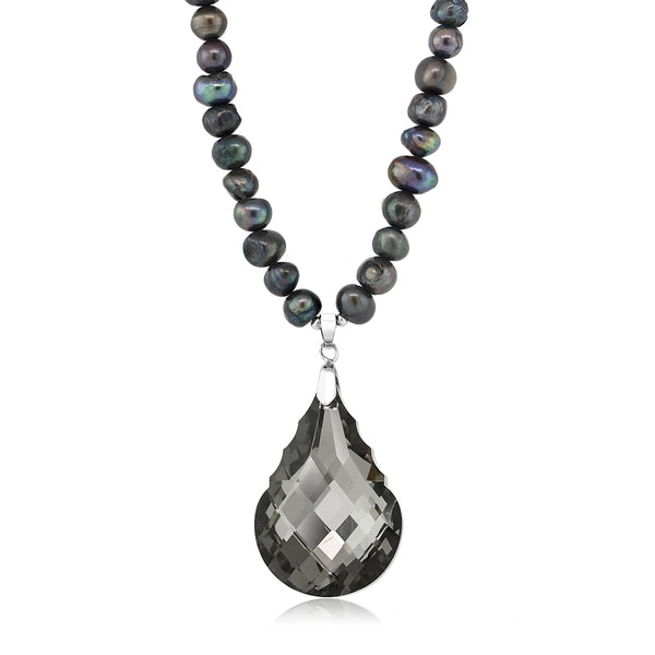 "Black Dyed Cultured Freshwater Pearl Faceted Pendant Necklace 16"" w/ 2"" Extender"