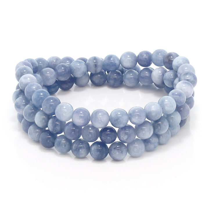 Gem Stone King 6mm Stunning Round Simulated Aquamarine Bead Stretchy Bracelet / Necklace
