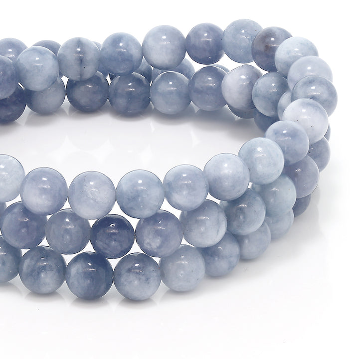 6mm Stunning Round Simulated Aquamarine Bead Stretchy Bracelet / Necklace