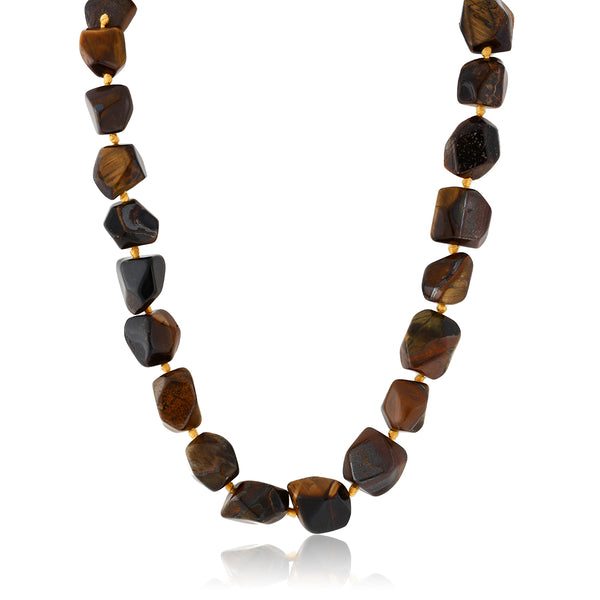 Gorgeous 18 Inch Knotted Tiger Eye Necklace With Lobster Clasp