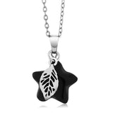 Gem Stone King Beautiful Star Shape Onyx Pendant With Leaf Charm With Complimentary Chain