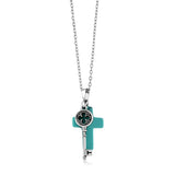 "Beautiful Cross Shape  Simulated Turquoise  Pendant With Key Charm On 18"" Chain"