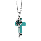Gem Stone King Beautiful Cross Shape  Simulated Turquoise  Pendant With Key Charm On 18inches Chain