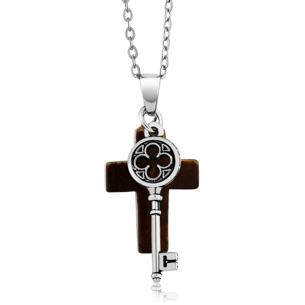 "Beautiful Tigers Eye Cross Pendant With Key Charm On 18"" Chain"