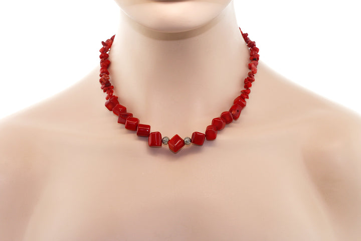 16 Inch Simulated Red Coral Chip Lobster Closure Necklace