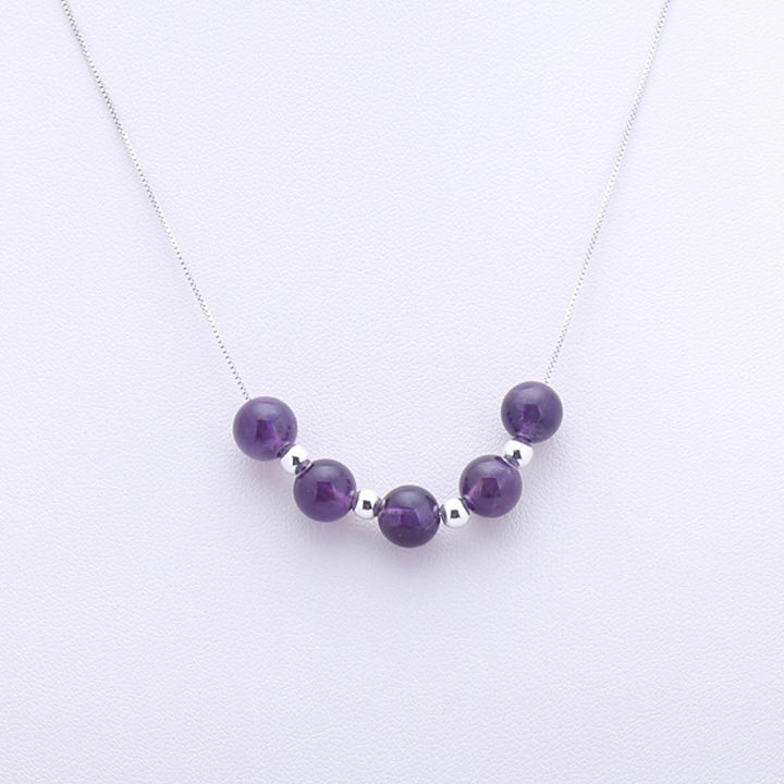 "Gorgeous 18"" Amethyst Necklace With Silver Beads"