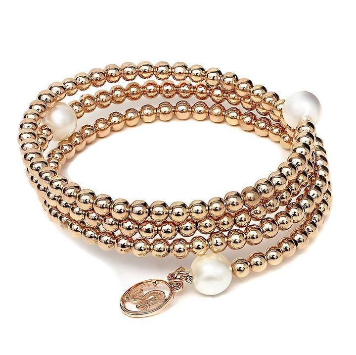 Gem Stone King 4mm Shell Pearl  Wrap Around Adjustable Rose Tone Bracelet With Charm