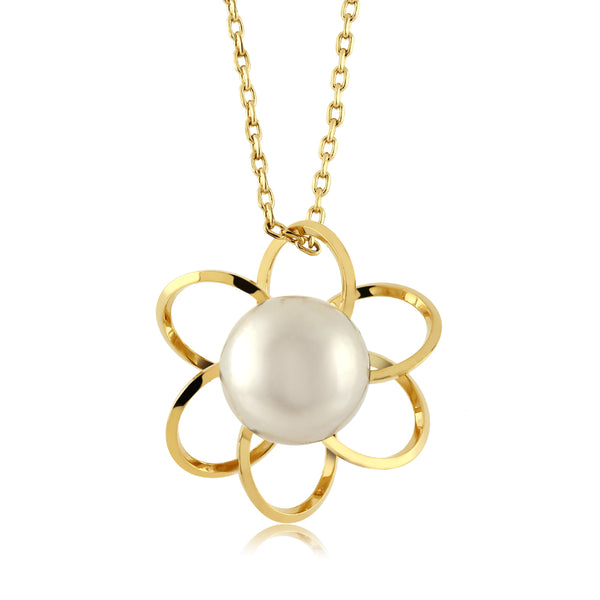 "8mm Round Cultured Freshwater Pearl Yellow Gold Plated Flower Pendant 18"" Chain"