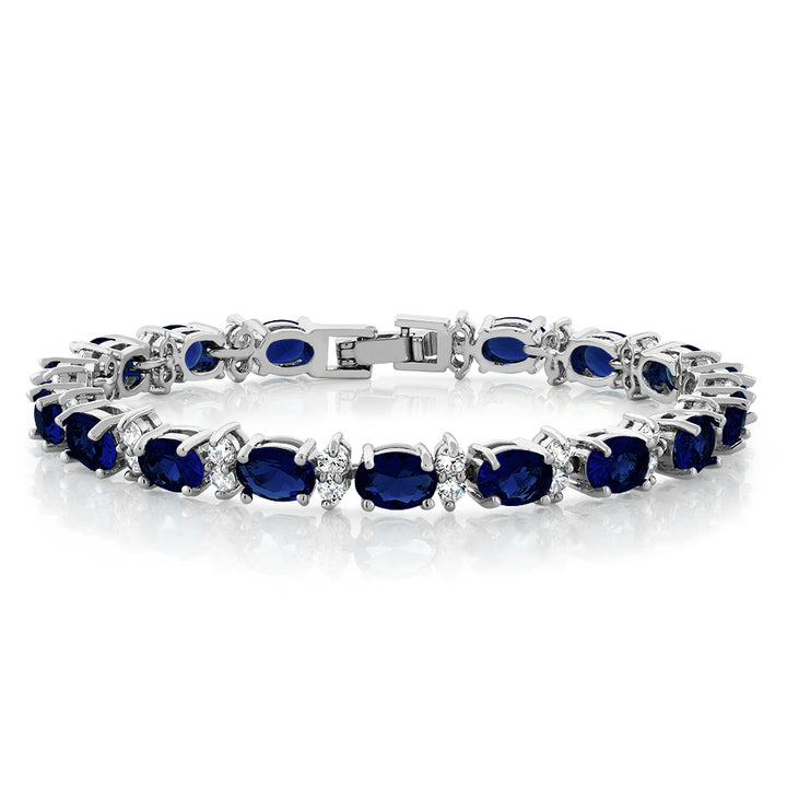 "Gem Stone King 20.00 Ct Gorgeous Oval and Round 7"" Sparkling Cubic Zirconia CZ Tennis Bracelet"