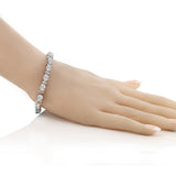 "20.00 Ct Gorgeous Oval and Round 7"" Sparkling Cubic Zirconia CZ Tennis Bracelet"