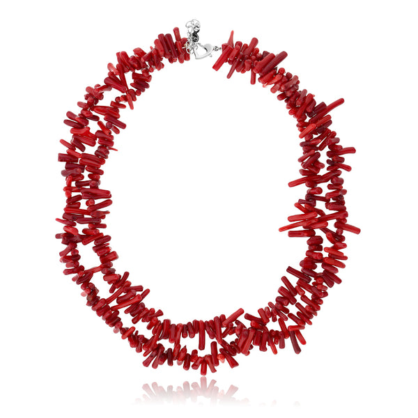 "17"" 2-Row Red Simulated Coral Chips Necklace + 2'' Extenstion Heart Shape Clasp"