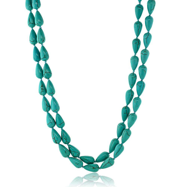 Gem Stone King Handmade 48inches Long Drop Shape  Simulated Turquoise  Necklace