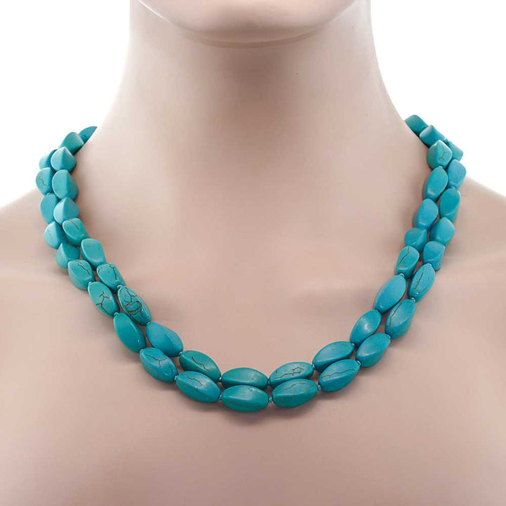 "Handmade 48"" Long  Simulated Turquoise  Necklace"