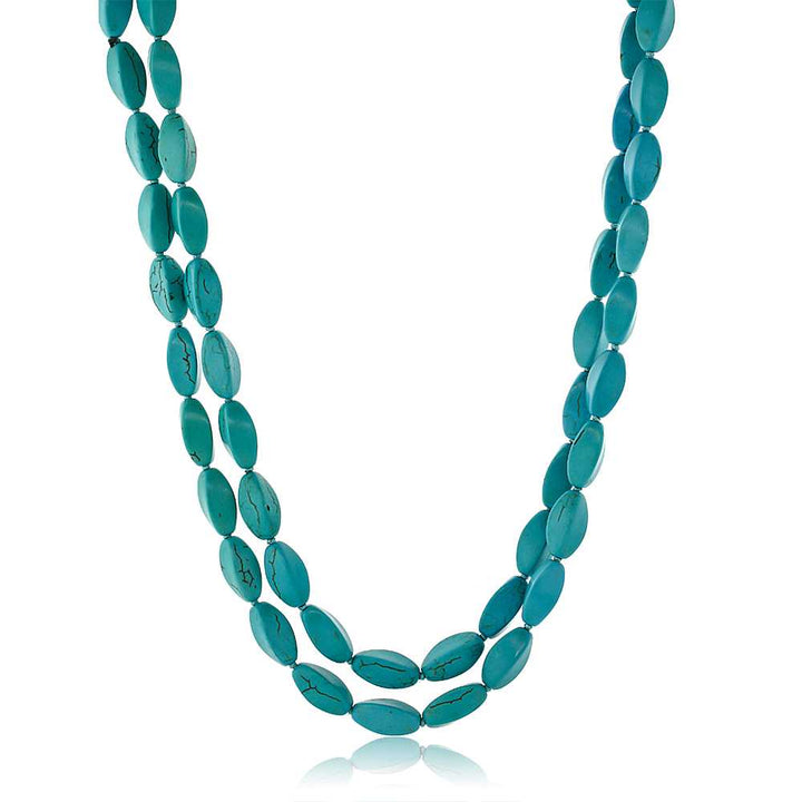 Gem Stone King Handmade 48inches Long  Simulated Turquoise  Necklace