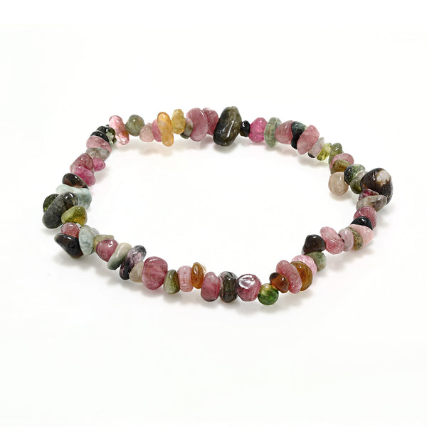Women's Multicolor Tourmaline Stone Chip Stretchy Bracelet