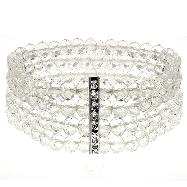 Fashion Jewelry Austrian Crystal And Simulated White Diamond Bangle 7 Inch New Sale Price