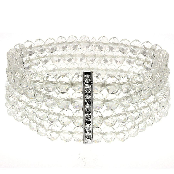Gem Stone King 4-Row White Faceted Crystal Stretchy Bracelet Bangle 1.5 Inch Wide