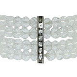 4-Row White Faceted Crystal Stretchy Bracelet Bangle 1.5 Inch Wide