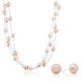 Gem Stone King 3-Row 7-8mm Pink Cultured Freshwater Pearl Necklace Earrings Set 18inches