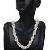 Gem Stone King Amazing White Double Twist Cultured Freshwater Pearl Necklace 18inches Pearls:6-7MM