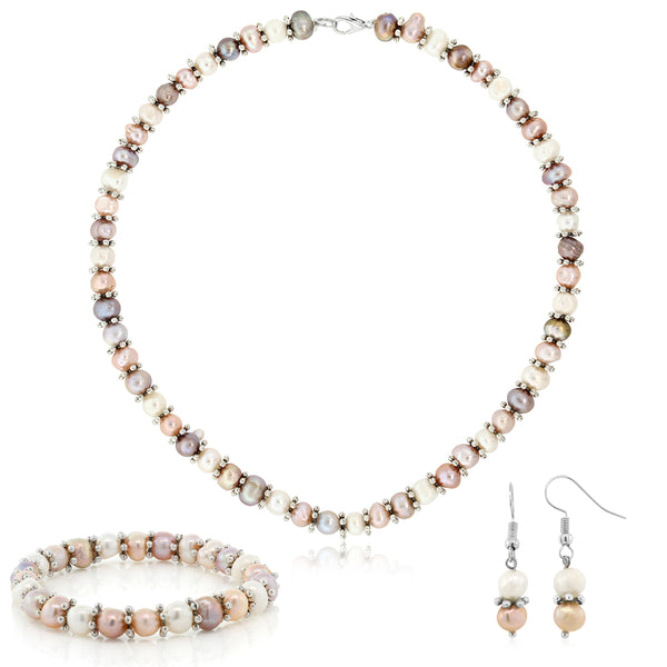 4e236f275fd883 Pink & White Cultured Freshwater Pearl Necklace Earrings Bracelet Set 7-8MM  ...