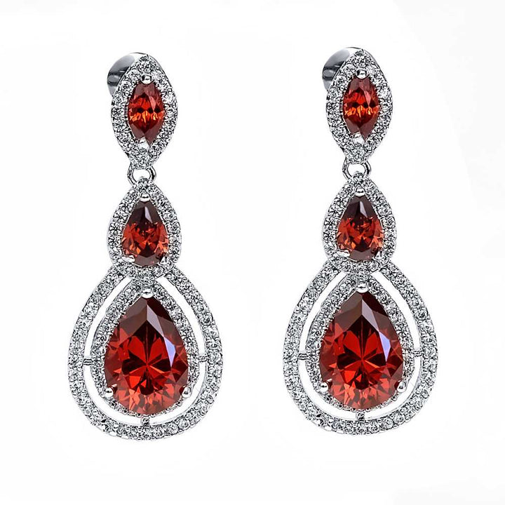 Gem Stone King Beautiful Silver  CZ Drop Earrings With Beautiful Accent CZ