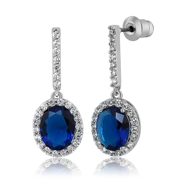 Oval Shape Blue Simulated Sapphire and Zirconia Dangle Earrings 1 Inch