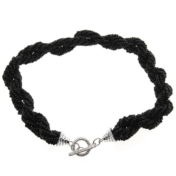 Gem Stone King Black Beads with Toggle Clasp Silver Color Locket Statement Nacklace 16 Inches