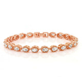 Gem Stone King 5.00 Ctw Oval Cut White CZ Rose Gold Color Folding Clasp Tennis Bracelet 7 Inch