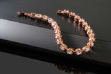 5.00 Ctw Oval Cut White CZ Rose Gold Color Folding Clasp Tennis Bracelet 7 Inch