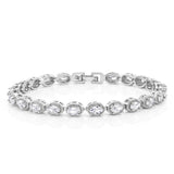 Gem Stone King 5.00 Ctw Oval Cut Brilliant White CZ Folding Clasp Tennis Bracelet 7 Inch